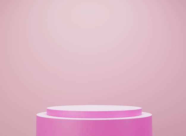 Różowo-biała platforma. wyświetlacz produktu. renderowanie 3d