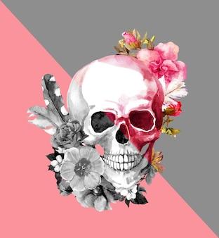 Różowo-szara czaszka z kwiatami. ilustracja mody z dynamicznymi krawędziami