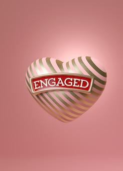 Różowo-złote serce w paski z napisem engaged