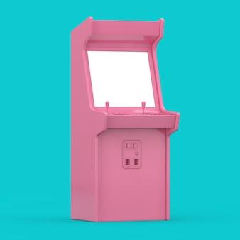 Różowy automat do gier z pustym ekranem do projektowania w stylu duotone na niebieskim tle. renderowanie 3d