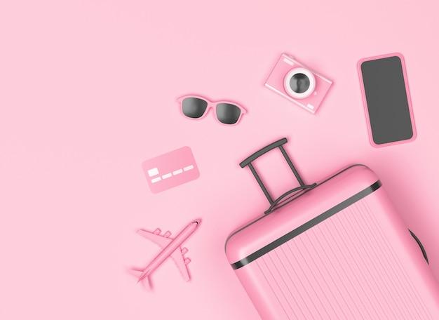 Różowy bagaż z smartphone, aparat fotograficzny, okulary przeciwsłoneczne na pastelowym różowym tle. renderowanie 3d