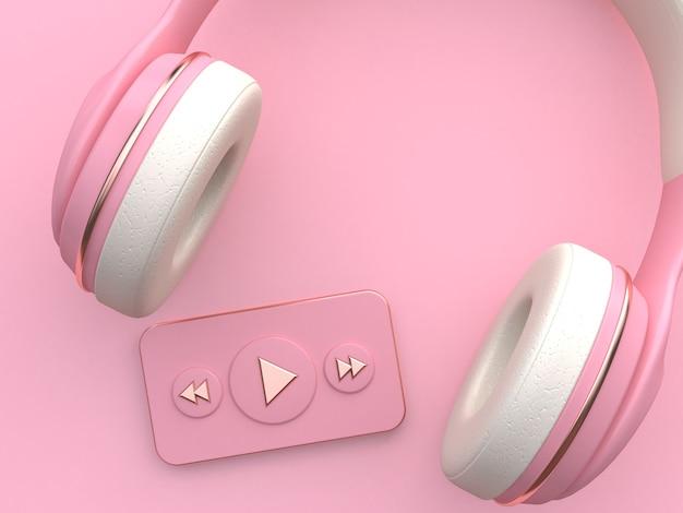 Różowy biały słuchawki odtwarzacz muzyczny 3d renderowania