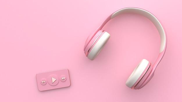 Różowy biały słuchawki odtwarzacz muzyki puste miejsce renderowania 3d