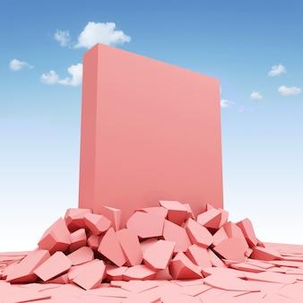 Różowy blok betonu litego przebijający się przez podłogę