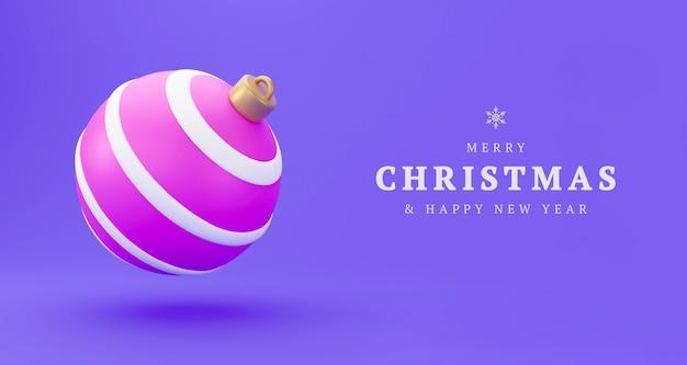 Różowy christmas decoration piłka 3d render z miejsca na kopię. szczęśliwego nowego roku bombka musująca, zimowa dekoracja kula wisząca ozdoba nowoczesny tradycyjny symbol