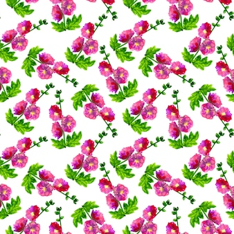 Różowy fioletowy ślaz z liśćmi. wzór. ręcznie rysowane akwarela ilustracja. tekstura do druku, tkaniny, tkaniny, tapety.