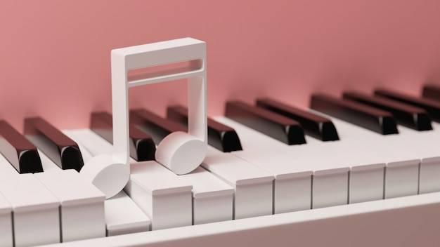 Różowy fortepian z klawiaturą z bliska i nutą na górze instrument muzyczny fortepian z bliska 3d illus