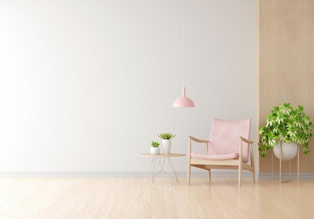 Różowy fotel w białym salonie z kopią przestrzeni