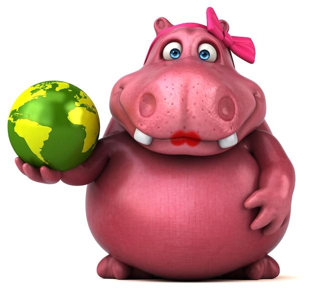 Różowy hipopotam - ilustracja 3d
