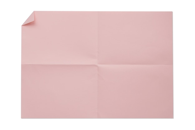 Różowy kolor pusty składany papier 4a na białym tle.