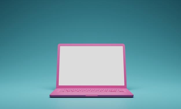 Różowy komputer aptop z pustym białym ekranem izolować na zielonym tle. szablon makiety ekranu. renderowania 3d.
