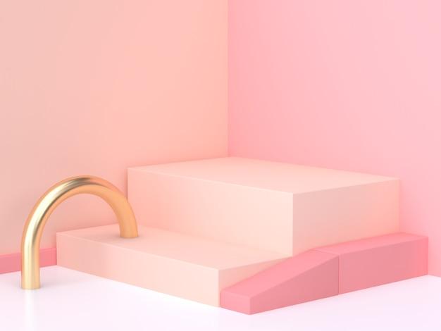 Różowy krem ściany rogu geometryczne streszczenie sceny renderowania 3d