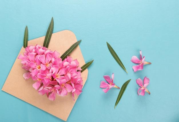 Różowy kwiat w kopercie na niebieskim tle.