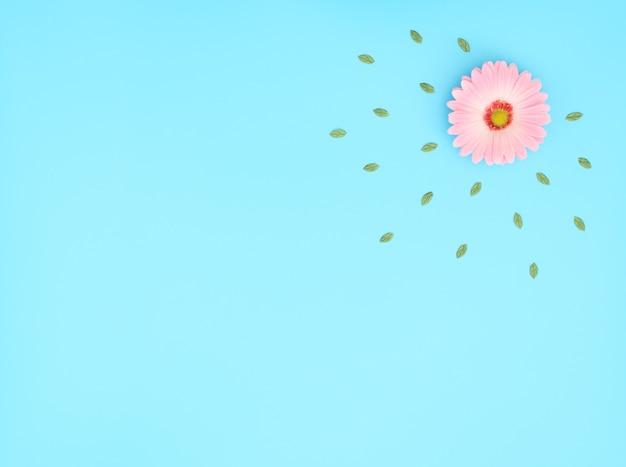 Różowy kwiat z zielonymi liśćmi na niebieskim tle.