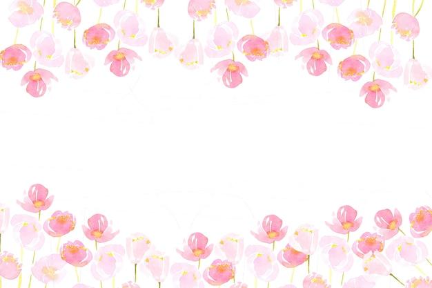 Różowy luźny kwiat akwarela malarstwo rama