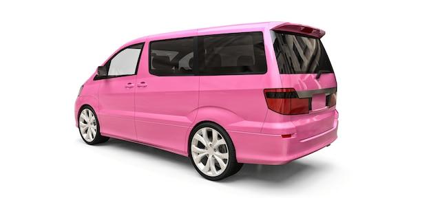 Różowy mały minivan do przewozu osób. trójwymiarowa ilustracja na błyszczącym białym tle. renderowania 3d.