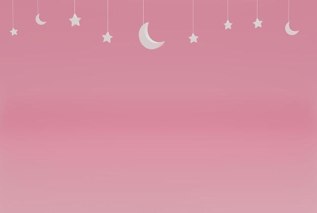 Różowy minimalistyczny z gwiazdami ramadan kareem na imprezy, święta itp. renderowanie ilustracji 3d