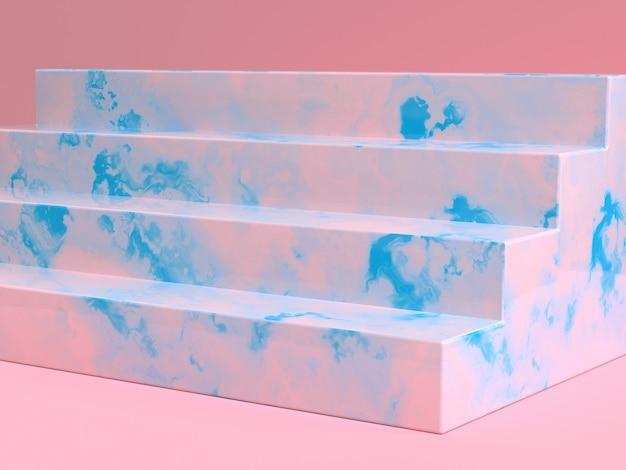 Różowy niebieski marmur tekstura schody renderowania 3d