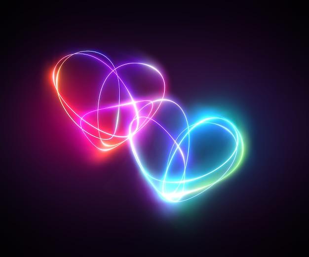 Różowy niebieski neon light rysunek kilka serc