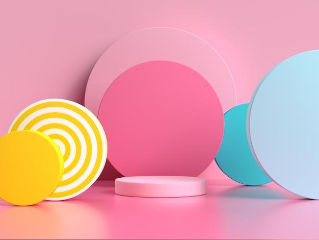 Różowy niebieski żółty geometryczny kształt wzór kolorowe 3d renderowania sceny