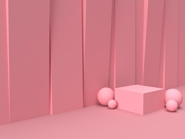 Różowy pastelowy produktu stojak na tle. abstrakcyjna koncepcja minimalnej geometrii. renderowania 3d