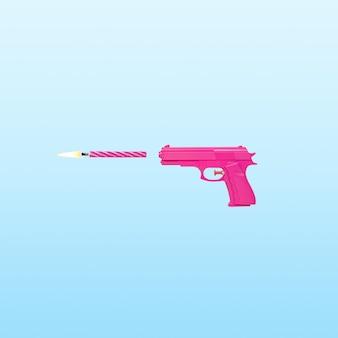 Różowy pistolet z urodzinową świeczką na niebieskim pastelowym tle
