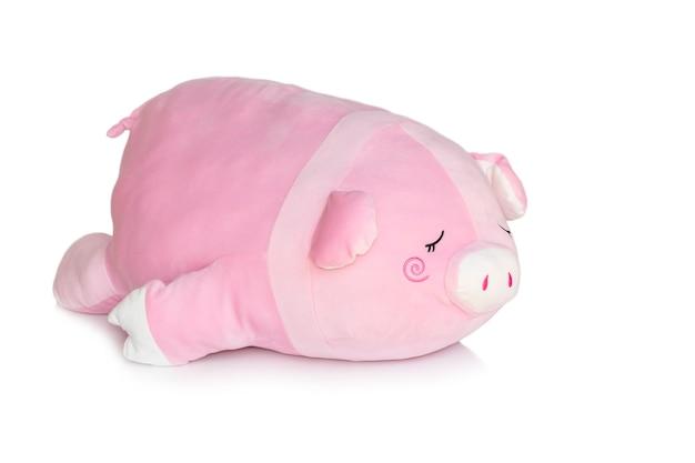 Różowy plusz świnia na białym tle