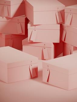Różowy podium pudełko na zakupy i stos tło kartonowe pudełka. 3d renderowania ilustracja.