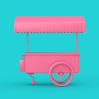 Różowy retro wózek na lody wózek mock up duotone na niebieskim tle. renderowanie 3d