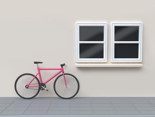 Różowy rower na okna ulicy i ściany budynku renderowania 3d