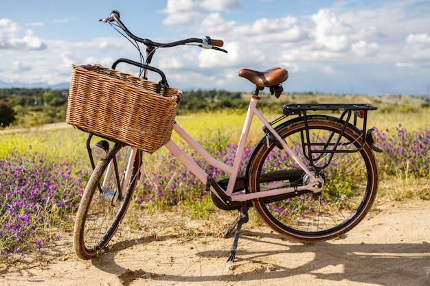 Różowy rower z koszem w kraju w słoneczny wiosenny dzień
