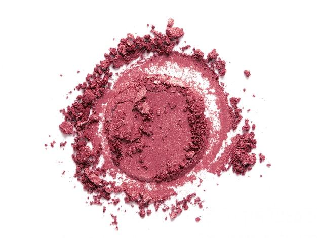 Różowy rumieniec, cień do powiek okrągła próbka na białym tle