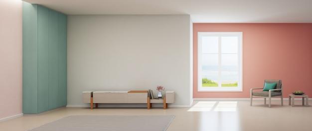 Różowy salon z widokiem na morze, luksusowy letni dom na plaży ze stojakiem na telewizor i drewnianą szafką.