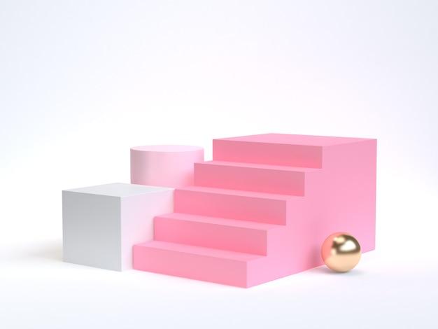 Różowy schody-schody 3d renderowania białe tło