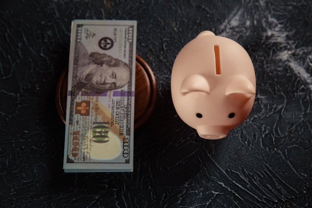 Różowy skarbonka i banknot dolar na sędziego