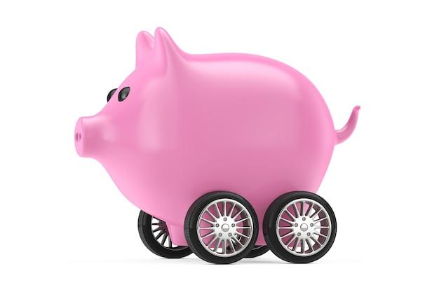 Różowy skarbonka na kołach samochodu na białym tle. renderowanie 3d