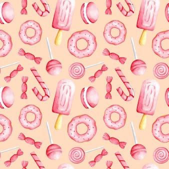 Różowy słodki jedzenie na brzoskwiniowym kolorze tła bez szwu wzór cukierki druku
