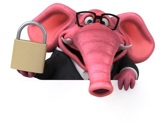 Różowy słoń - ilustracja 3d