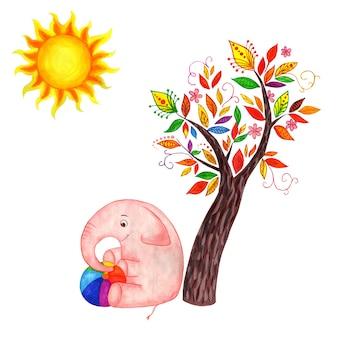Różowy słoń siedzi pod bajkowym drzewem i trzyma wielokolorową piłkę, a słońce świeci dzieci
