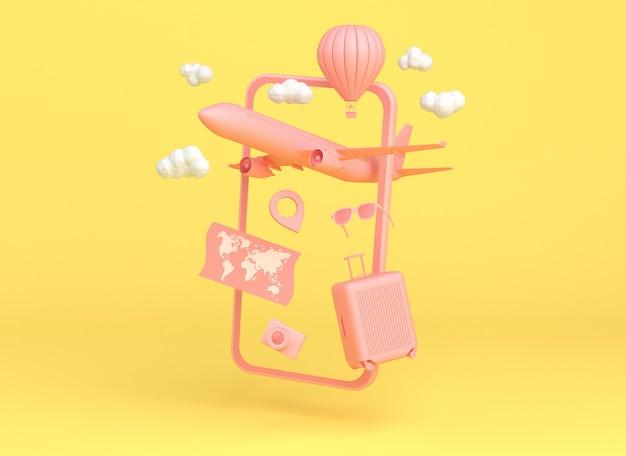 Różowy smartfon z obiektami podróży: samolot, balon, mapa, okulary przeciwsłoneczne, aparat i torba na żółtym tle. renderowanie 3d