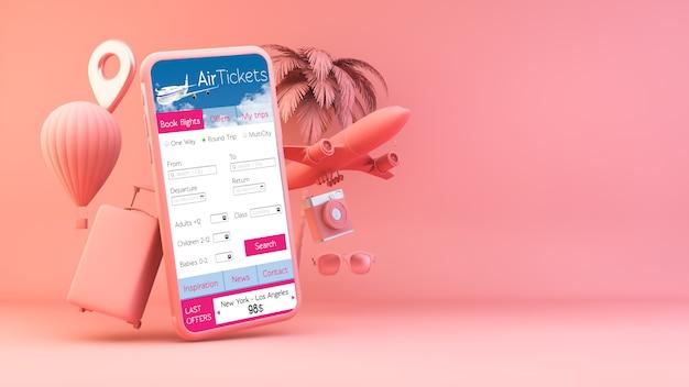 Różowy smartfon z obiektami podróży