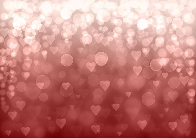 Różowy srebrny valentine streszczenie tło uroczysty. tekstura wzór efekt brokatu bokeh z serca.