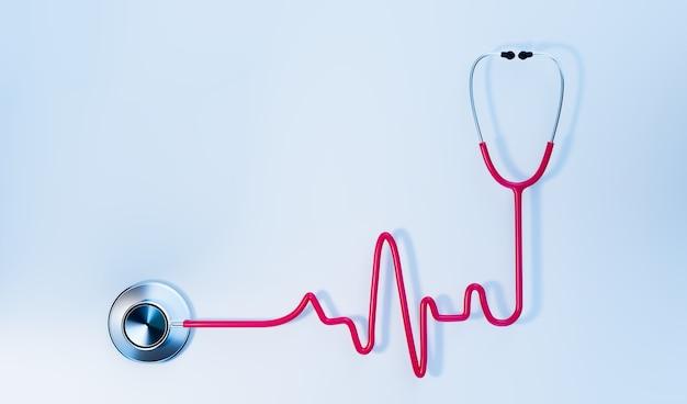 Różowy stetoskop w kształcie wykresu ekg na białym tle, koncepcja medyczna, renderowanie ilustracji 3d