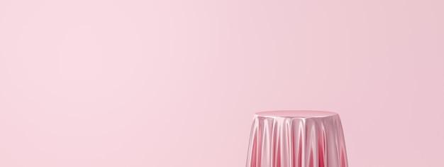 Różowy stojak na produkt lub cokół na podium na pustym wyświetlaczu z luksusowymi tkaninami.