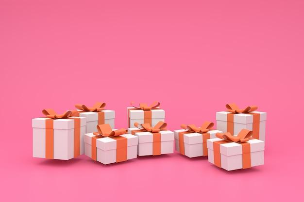 Różowy świąteczny, urodzinowy, noworoczny lub świąteczny plakat z białym 3d pudełkiem z satynową kokardą. .