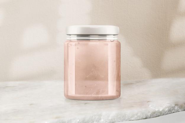 Różowy szklany słoik z galaretką, opakowanie produktu spożywczego z przestrzenią projektową