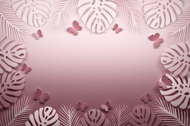 Różowy tropikalny szablon z motylami