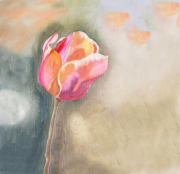 Różowy tulipan na beżowym abstrakcyjnym tle