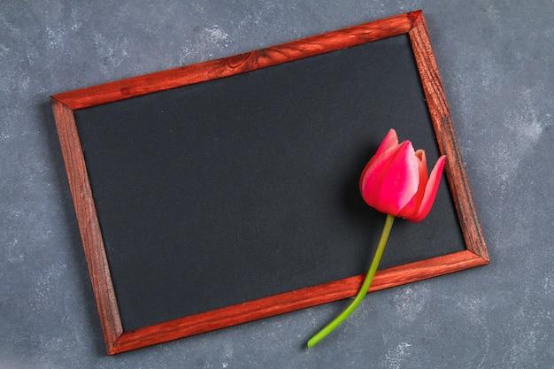 Różowy tulipan na popielatym betonowym tle i kredowej desce.
