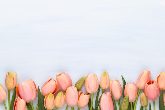 Różowy tulipan na vintage drewniane tła. kartkę z życzeniami dnia matki.